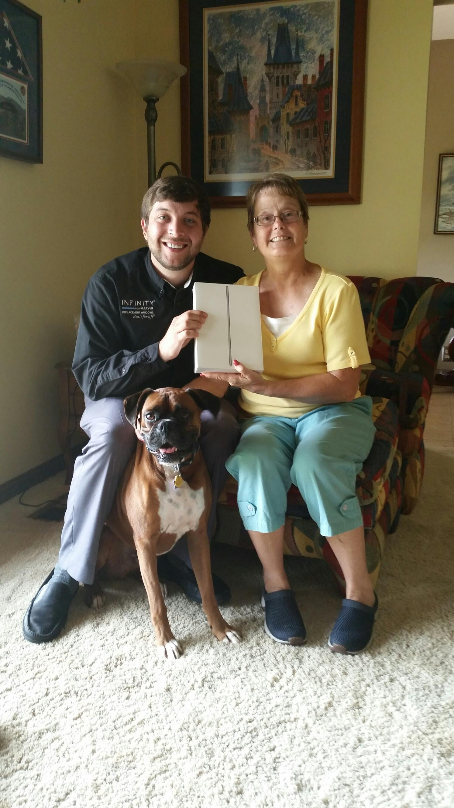 Denise Lawson with Weber Window's Sam and iPad